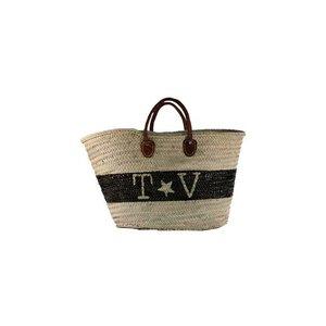 Twenty Violets Straw Beach Bag Maxi Black T&V band