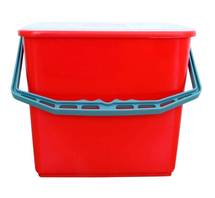 Emmer met deksel 6 liter rood