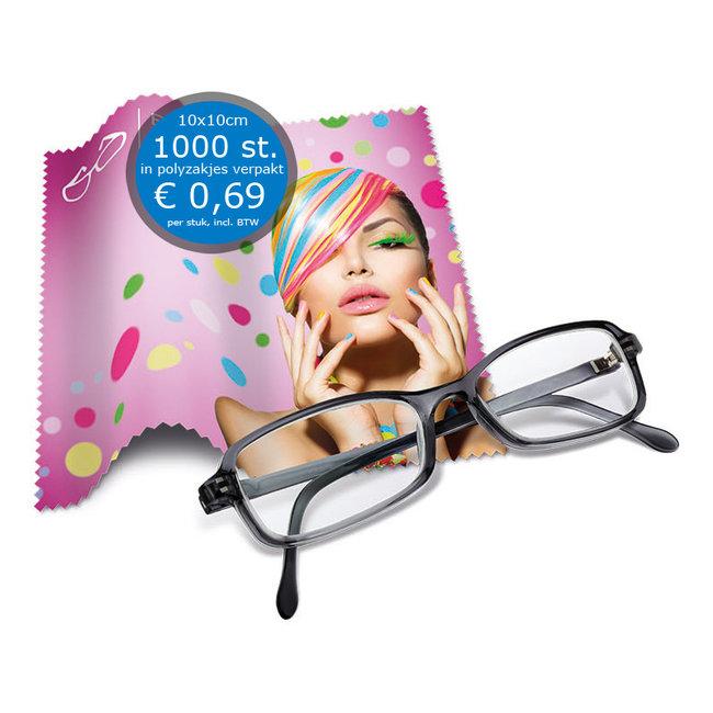 Brillendoekjes 10x10 cm bedrukt en verpakt