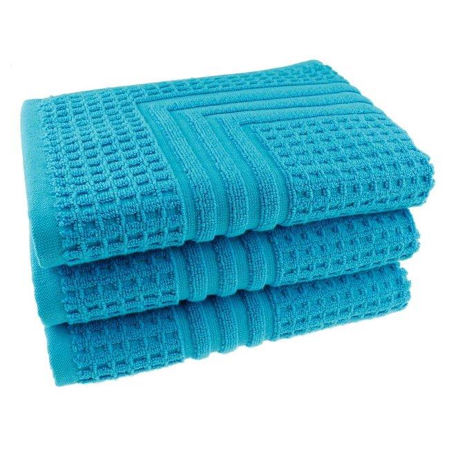 Hotel badmat aqua blauw 50x70
