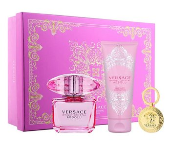 Versace Giftset Bright Crystal Absolu EDP 90ml + BODY LOTION 100ml + KEYCHAIN Parfum