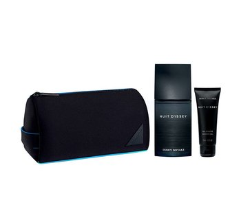 Issey Miyake Nuit D´Issey Gift Set 125 ml, Shower gel Nuit D´Issey 75 ml a kosmetická taška