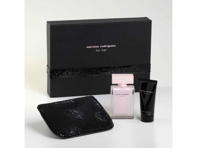 Narciso Rodriguez For Her Giftset, edp spray 5ml/body lotion 5ml/pouch