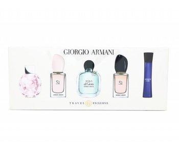 Giorgio Armani Womens Giftset, Code Femme Edp Spray 3 ml/Emporio Diamonds Rose Edp Spray 5ml/Acqu di Gioia Edp Spray 5ml/Si Edp Spray 7ml/Si Edt Spray 7ml