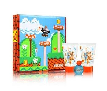 Moschino I Love Love EDT 4.9 ml mini - kit, body lotion I Love Love and 25 ml shower gel I Love Love 25 ml