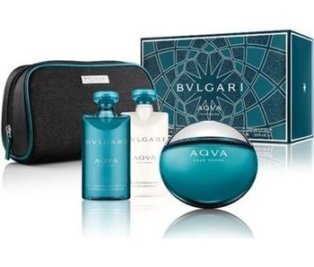 Bvlgari Aqva Pour Homme Gift Set EDT 100ml, Aqva Pour Homme shower gel 75 ml, Aqva Pour Homme After Shave Balm 75 ml and cosmetic bag