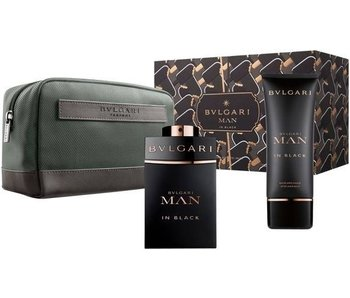 Bvlgari Man In Black SET EDP 100 ml + Aftershave Balm 75 ml + Cosmetic Bag
