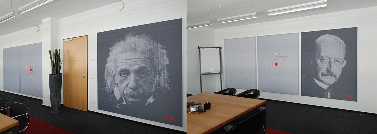 Schallschutz Büro mit individuellem Design: Nobelpreisträger im Corporate Design von Equinix Frankfurt