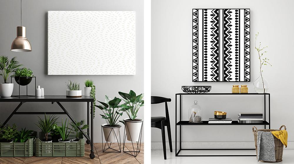 Akustik Dämmung - schwarz-weiße Wandbilder im Boho-Stil