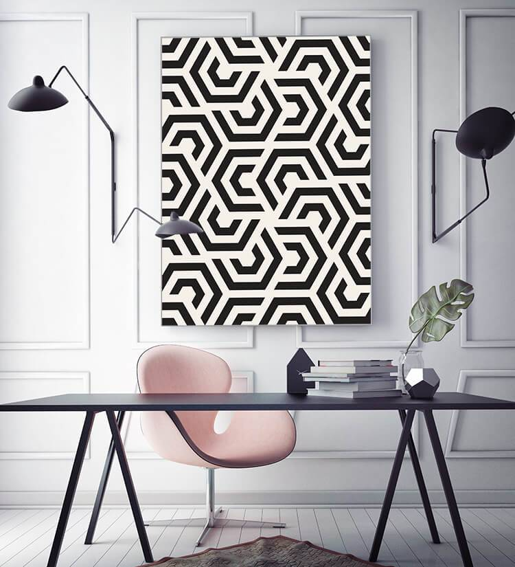 "Akustikbild mit Boho-Design ""Black and White"" - individualisierbar"