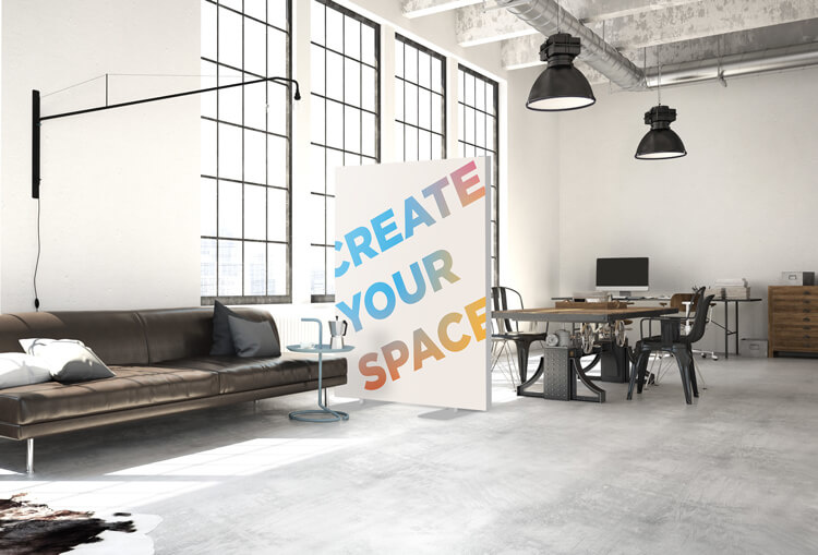 "Akustik Raumteiler mit Design ""Create Your Space"""