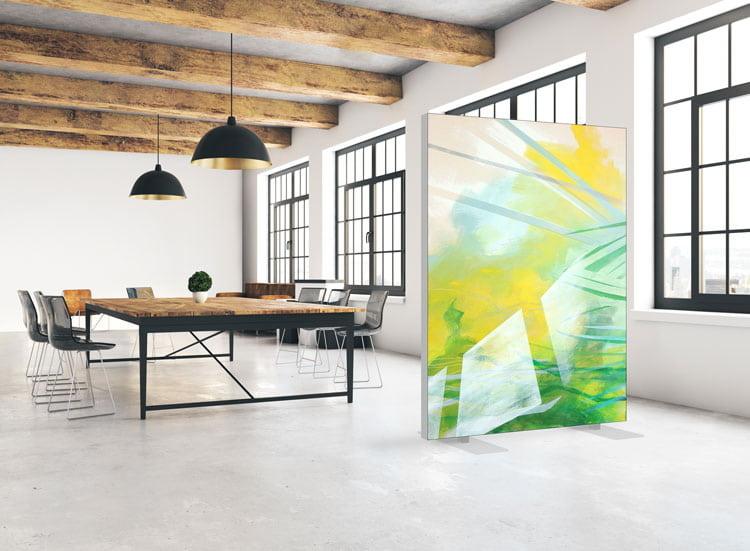 """Akustik Raumteiler mit Kunstmotiv """"Landung"""""""