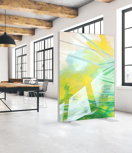 Akustik Raumteiler Ideen mit Kunst