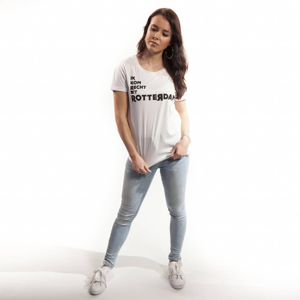 RUR T-shirt Dames WIT, Recht Uit Rotterdam