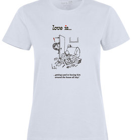 Made In Rttrdm Love is... getting used to having him around Dames T-shirt