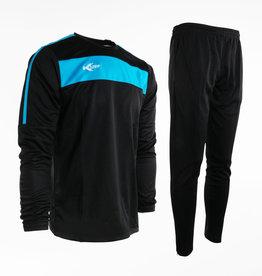 Training pak Neon-Lijn, Zwart/Blauw