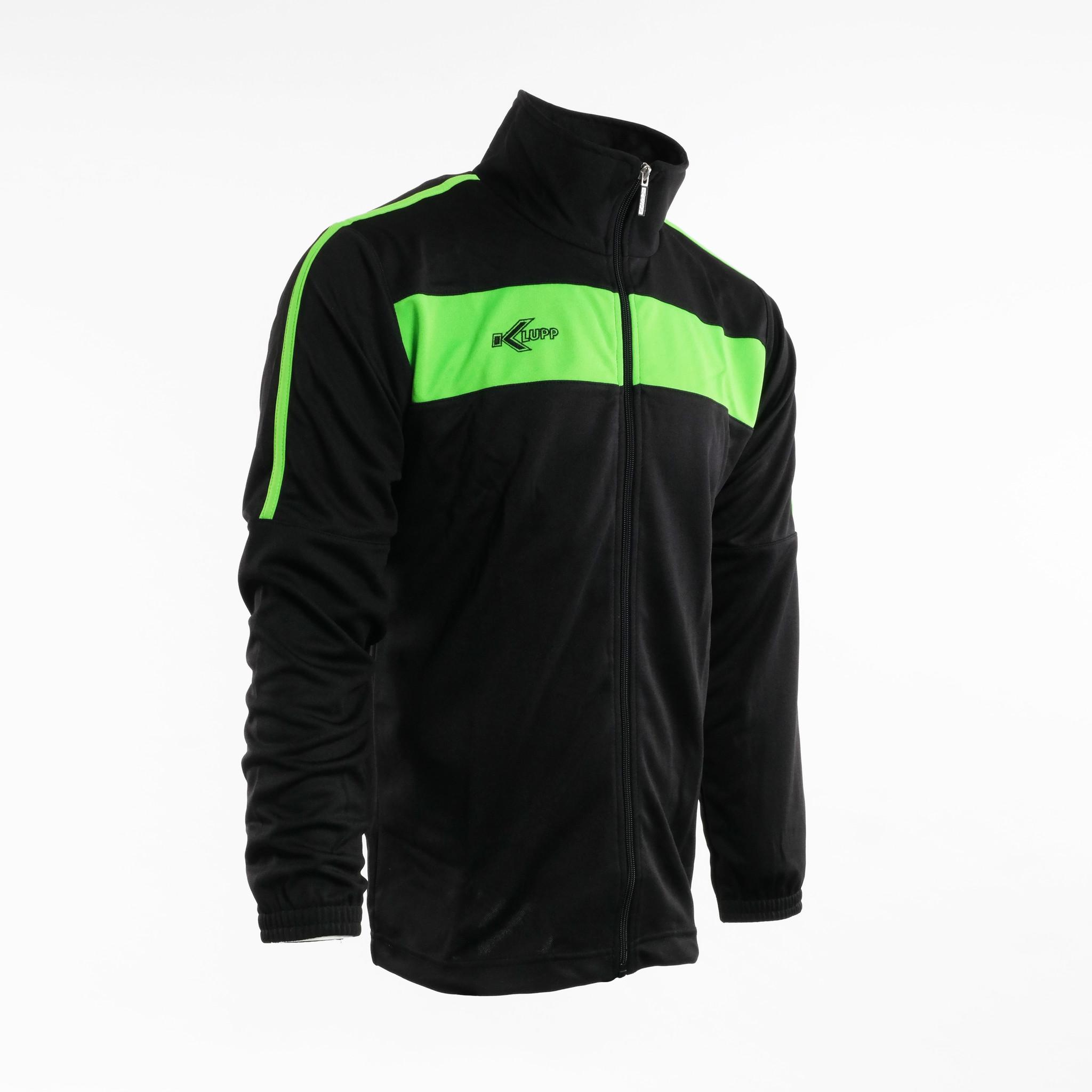 Training Pak Neon Lijn met rits, Zwart/Groen