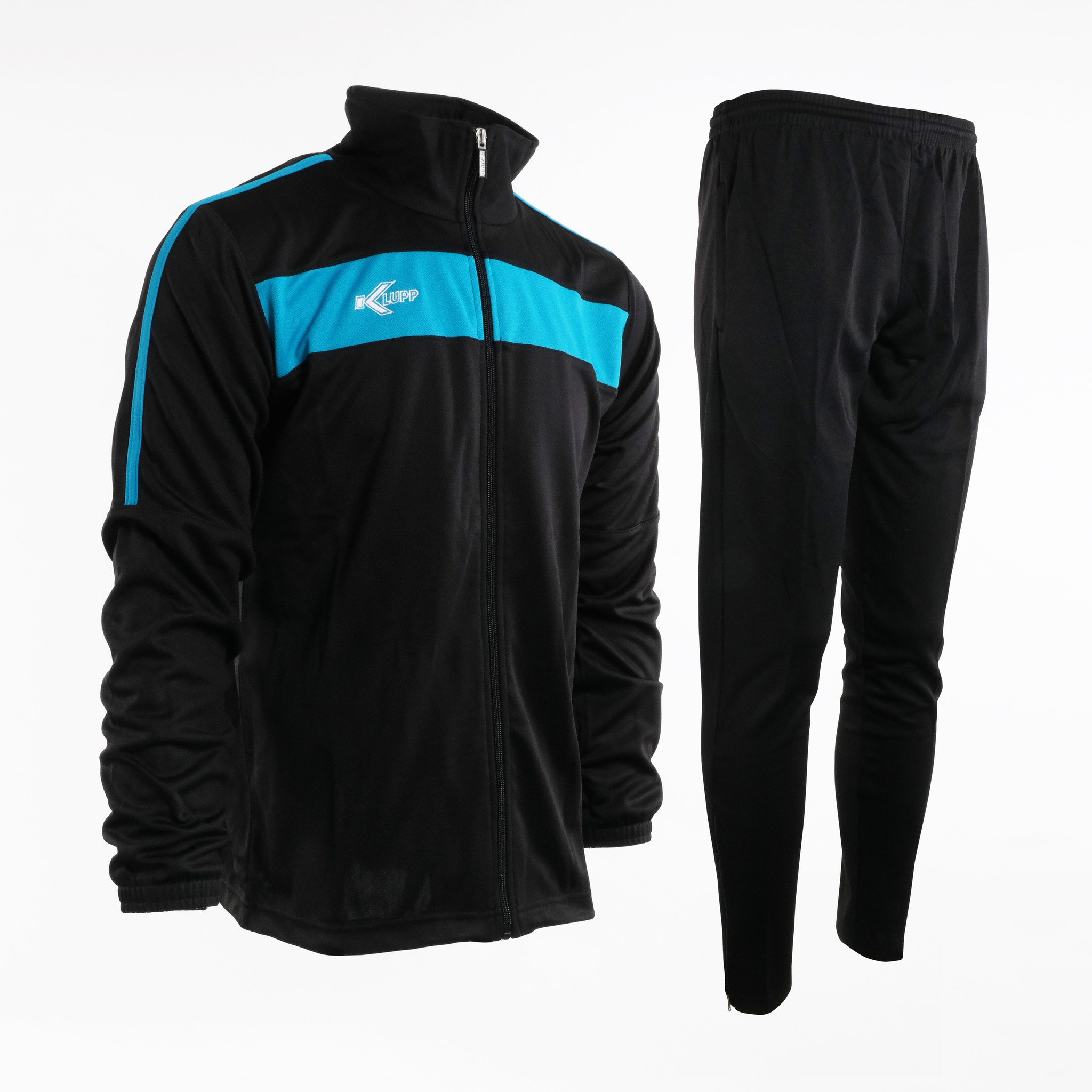 Training Pak Neon Lijn met rits, Zwart/Blauw