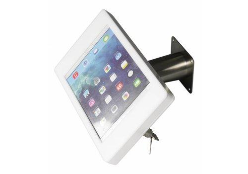 Bravour iPad houder wit/RVS voor iPad Pro 9.7/ iPad Air; Fino, houder voor wand-, tafel montage van gecoat staal met acrylaat behuizing inclusief slot