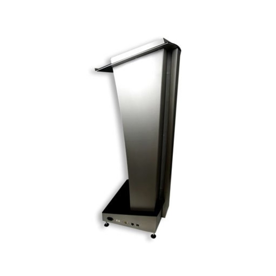 Skylight lectern, stainless steel pulpit with illuminated accents
