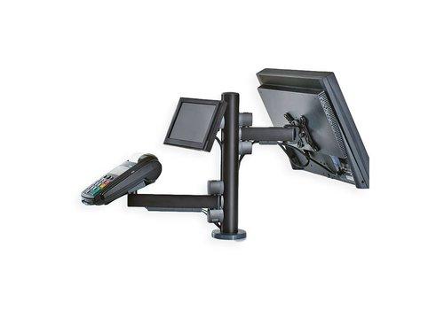 Betaalterminal en verkooppunt, tafelmontage voor twee schermen en betaalterminal houder
