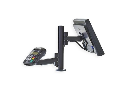 Point of sale RetailSystem, one arm mounting for screen and payment terminal holder