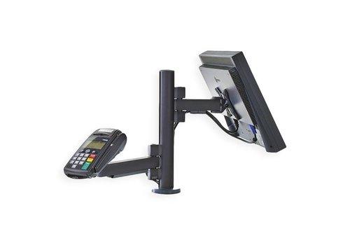 Verkooppunt, tafelmontage voor één scherm en betaalterminal houder