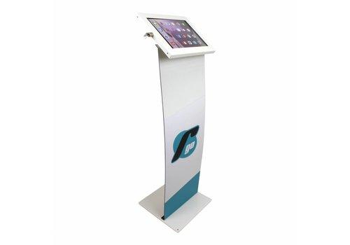 Bravour Vloerstandaard wit met display paneel voor tablets tussen 12 en 13 inch, Securo