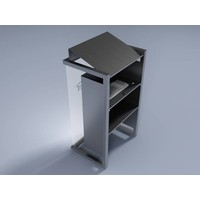 Box - large luxury rostrum with a stainless steel brushed base and a wooden (or plastic) front panel.