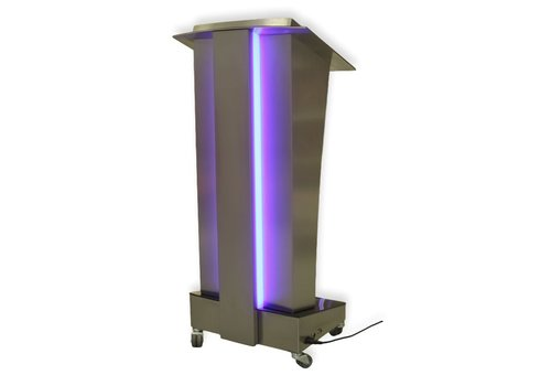 Bravour Skylight lectern, stainless steel pulpit with illuminated accents