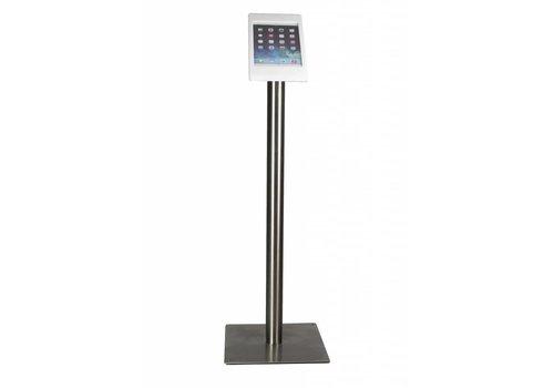 Bravour Vloerstandaard voor iPad Mini; Fino in wit acrylaat kunststof behuizing met RVS voet