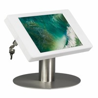 """Desk stand for iPad 10.5""""  white cassette with stainless steel base, lock included"""