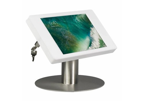 """Bravour Tafelstandaard voor iPad 10.5"""" cassette wit met voet van geborsteld blank staal, Fino"""