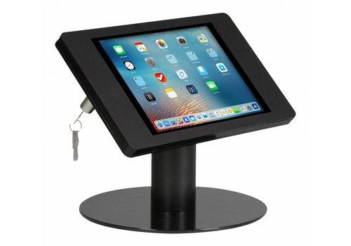 Bravour Tafelstandaard voor Apple Pro 9.7 en Air; Fino zwart acrylaat behuizing met slot en voet van gecoat staal