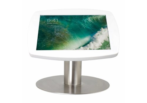 """Bravour Tafelstandaard voor iPad 10.5"""" cassette wit met voet van geborsteld blank staal, Lusso"""