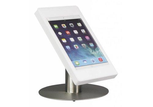 Bravour Tafelstandaard voor Apple Pro 9.7 en Air; Fino RVS/wit acrylaat behuizing met slot en voet van gecoat staal
