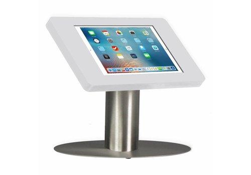 Bravour Tafelstandaard voor iPad Mini; Fino witte acrylaat behuizing met slot en voet van RVS/geborsteld staal