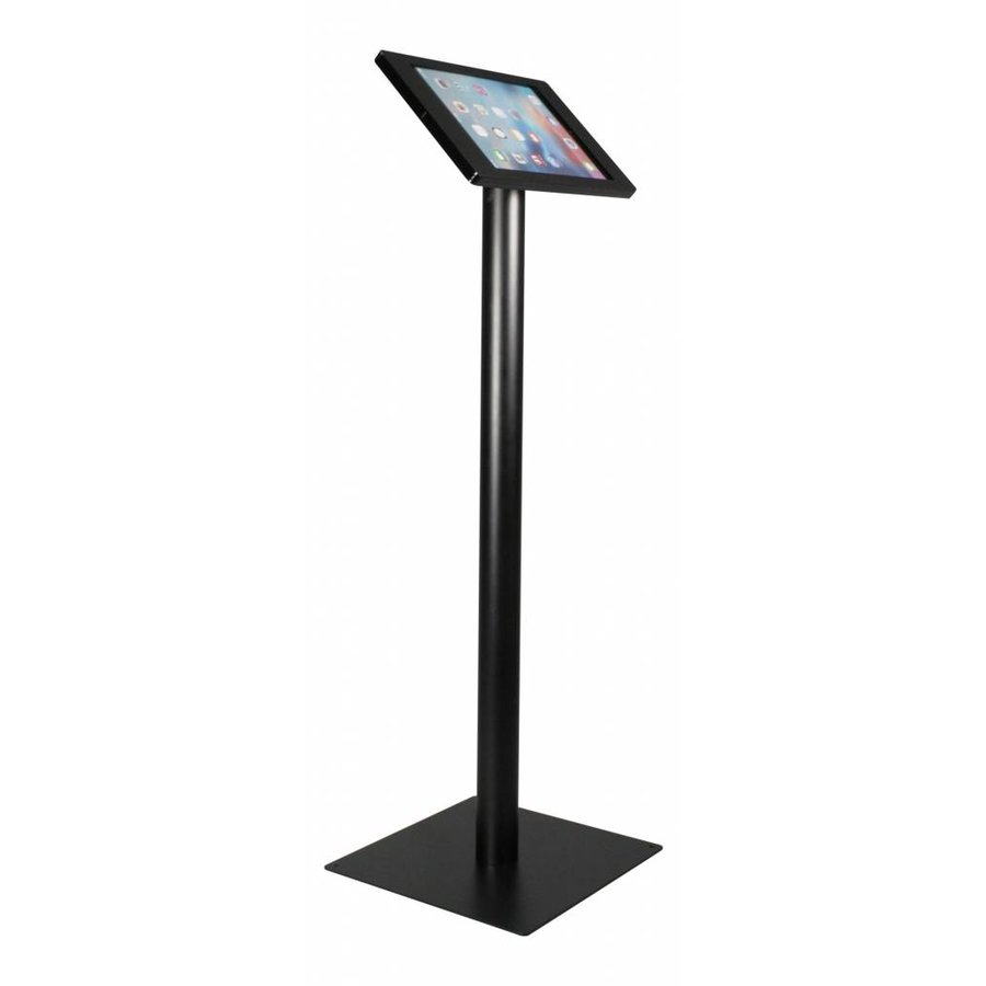 iPad floorstand for iPad Pro 12.9; Fino black acrylic holder lock included and pedestal of black coated steel