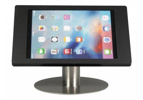 Bravour Soporte de escritorio iPad Pro 12.9. Carcasa en acrílico negro, tubo acero inoxidable, Fino.