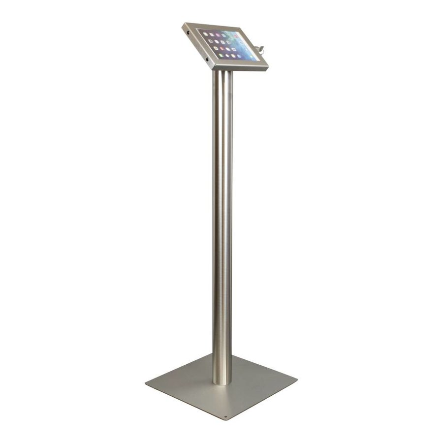 Tablet floor stand Securo 7-8 inch stainless steel, brushed and durable metal, lock option, cable integration
