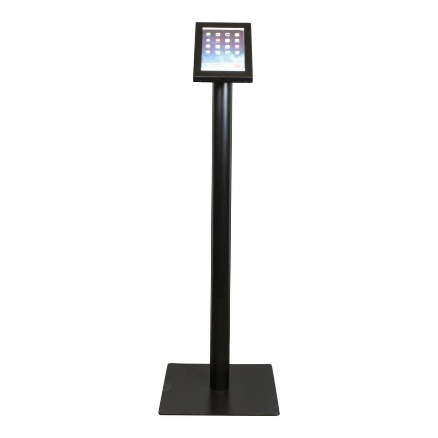Tablet floor stand Securo 7-8 inch black, coated and durable steel, lock option, cable integration