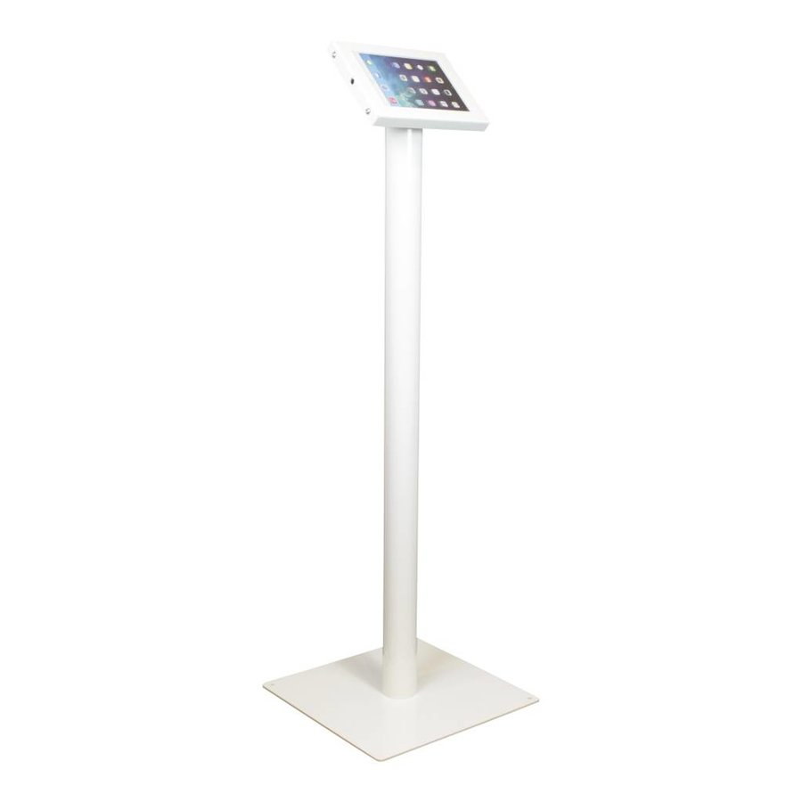 Tablet floor stand Securo 7-8 inch white, coated and sturdy steel, lock option, cable integration