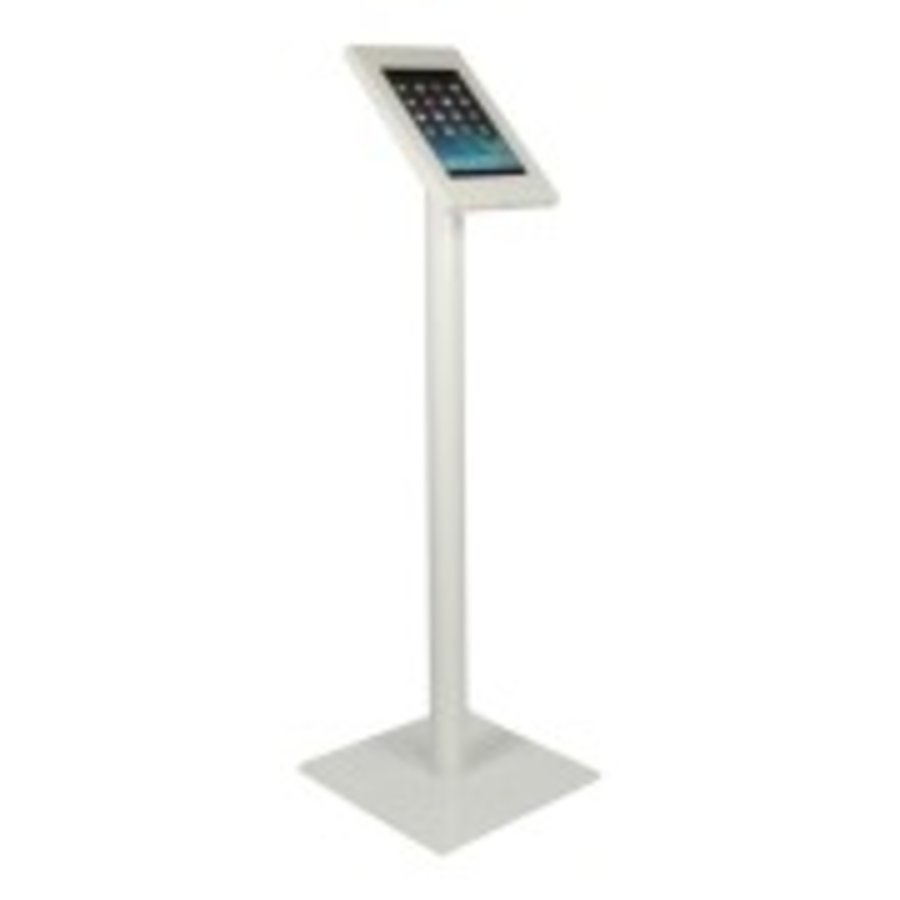 Tablet floor mount Securo 9-11 inch white, coated and sturdy steel, lockable, cable management