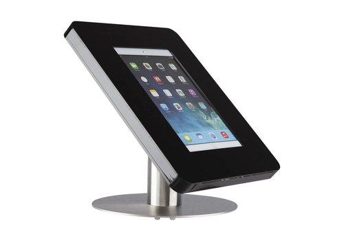 Bravour iPad tafelstandaard voor 9-11 inch tablets, Meglio, zwart acrylaat en voet van geborsteld staal