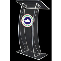 Arya - clear acrylic lectern with curved front plate