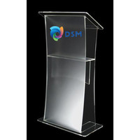 Logo or company name on front display of the lectern