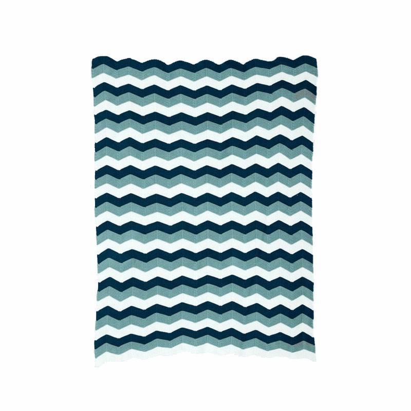 Ferm Living Deken Zigzag Blue (80 x 100 cm.)