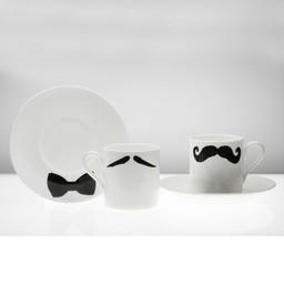 Peter Ibruegger Peter Ibruegger * Espresso Cup & Saucer * Moustache Maurice - Poirot