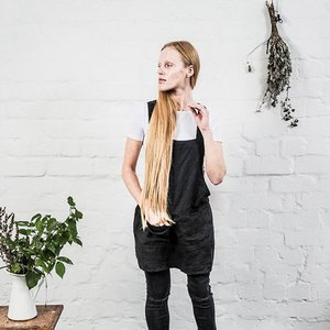 notPERFECTLINEN Kort Japans schort linnen - houtskool zwart