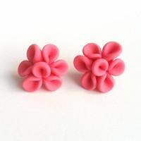 Earrings Leaves Pink